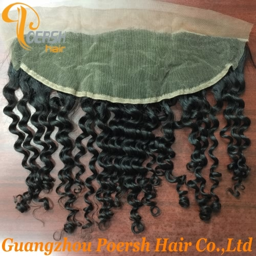 8A Top Quality 1B Natural Black Color Curly Wave 100% Unprocessed Raw Virgin Human Hair 13×4 Lace Frontal