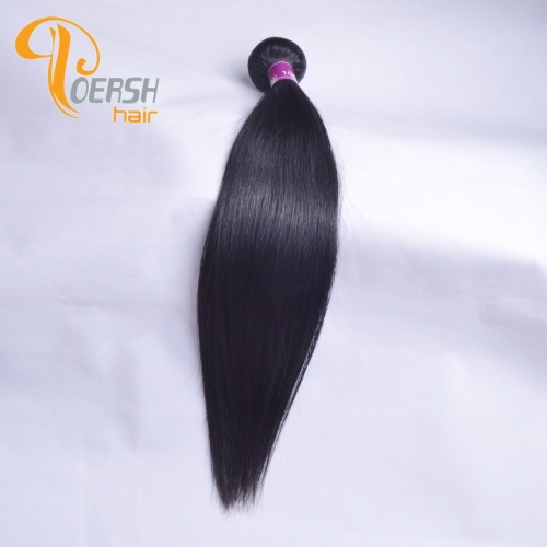 Poersh Hair Top Grade Unprocessed Raw Virgin Hair Top Quality 1B Natural Black Color Straight Hair 1Pc/Lot Human Hair Weft