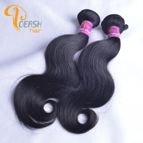 Poersh Hair Diamond Grade Unprocessed Raw Virgin Hair Top Quality 1B Natural Black Color Body Wave 2Pcs/Lot Human Hair Weft