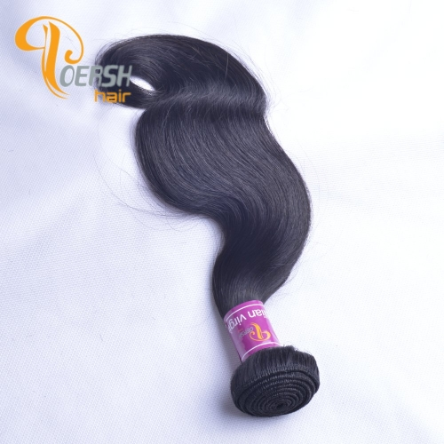 Poersh Hair Top Grade Unprocessed Raw Virgin Hair Top Quality 1B Natural Black Color Body Wave 1Pc/Lot Human Hair Weft