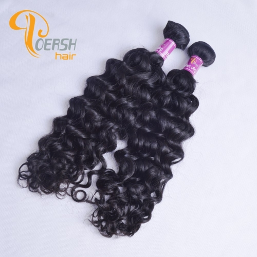 Poersh Hair Diamond Grade Unprocessed Raw Virgin Hair Top Quality 1B Natural Black Color Italy Curly 2Pcs/Lot Human Hair Weft