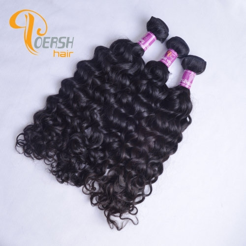 Poersh Hair Top Grade Unprocessed Raw Virgin Hair Top Quality 1B Natural Black Color Italy Curly 3Pcs/Lot Human Hair Weft
