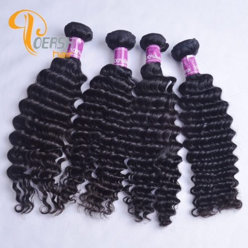 Poersh Hair 8A Uprocessed Raw Virgin Hair Top Quality 1B Natural Black Color Deep Wave 4Pcs/Lot Human Hair Weft