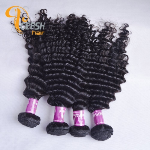 Poersh Hair Diamond Grade Uprocessed Raw Virgin Hair Top Quality 1B Natural Black Color Deep Wave 4Pcs/Lot Human Hair Weft