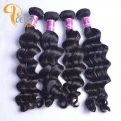 Poersh Hair 8A Unprocessed Raw Virgin Hair Top Quality 1B Natural Black Color Big Deep Wave 10Pcs/Lot Human Hair Weft