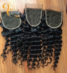 8A Top Quality 1B Natural Black Color Deep Wave 100% Unprocessed Raw Virgin Human Hair Free Part 4×4 Lace Closure