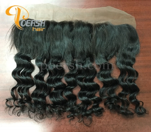 8A Top Quality 1B Natural Black Color Italy Curly 100% Unprocessed Raw Virgin Human Hair 13×4 Lace Frontal