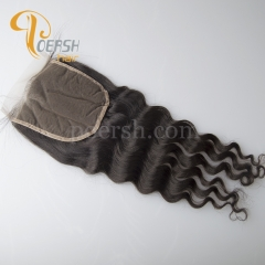 8A Top Quality 1B Natural Black Color Big Deep Wave 100% Unprocessed Raw Virgin Human Hair Free Part 4×4 Lace Closure